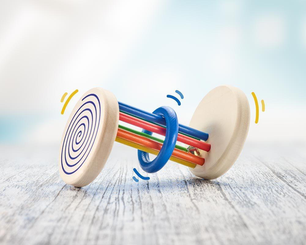 hout rolspeelgoed visueel spiraaleffect
