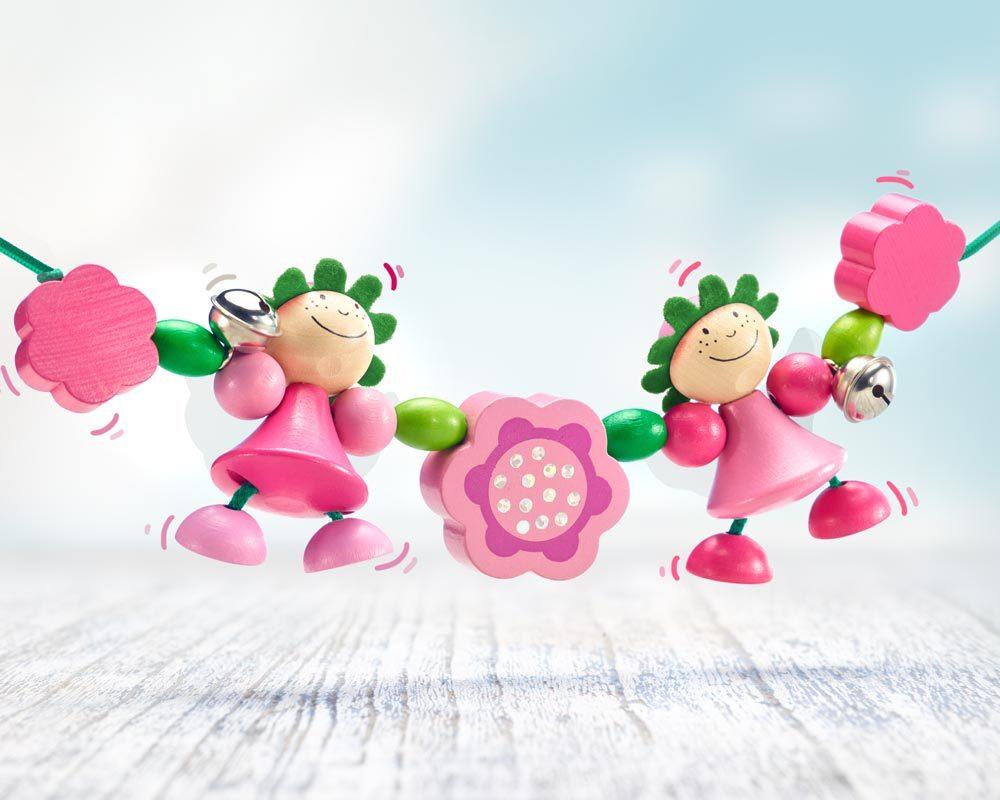 hout wagenspanner roze elfjes bloemen
