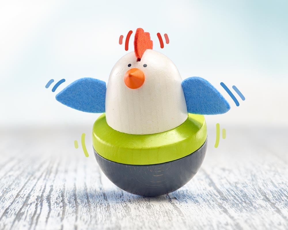 hout baby wiebelfiguur kip