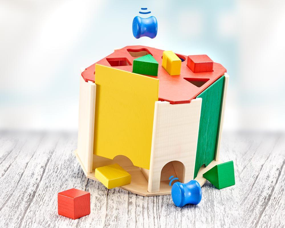 hout sorteerbox baby sorteerspel quatrino