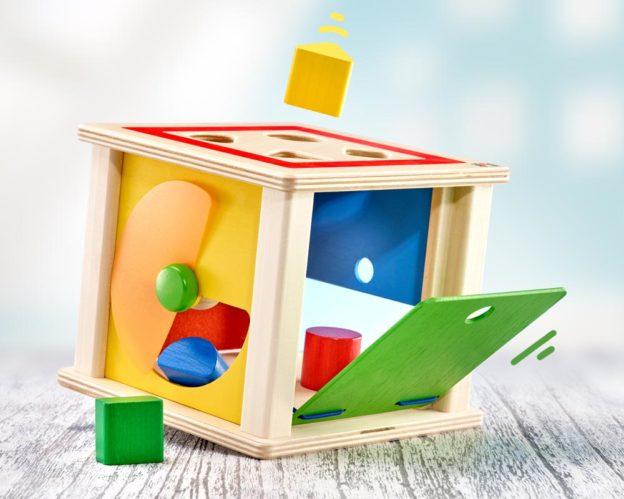 hout sorteerbox bouwblokken varianto