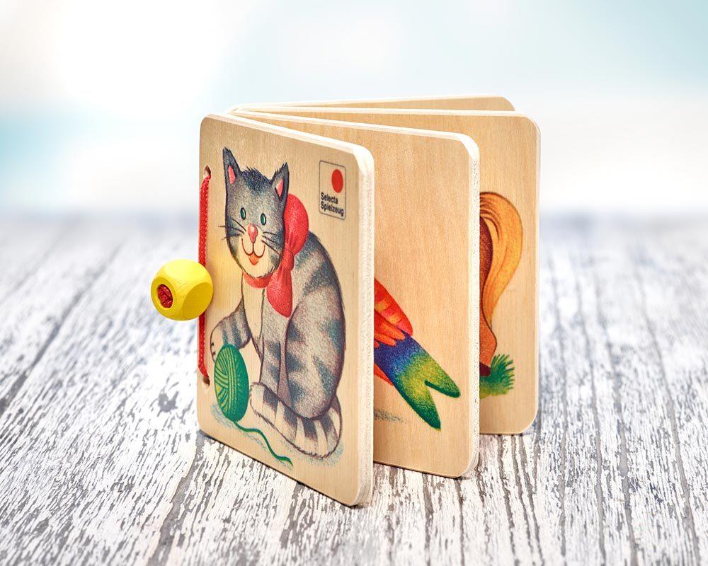 hout plaatjesboek dieren kat paard