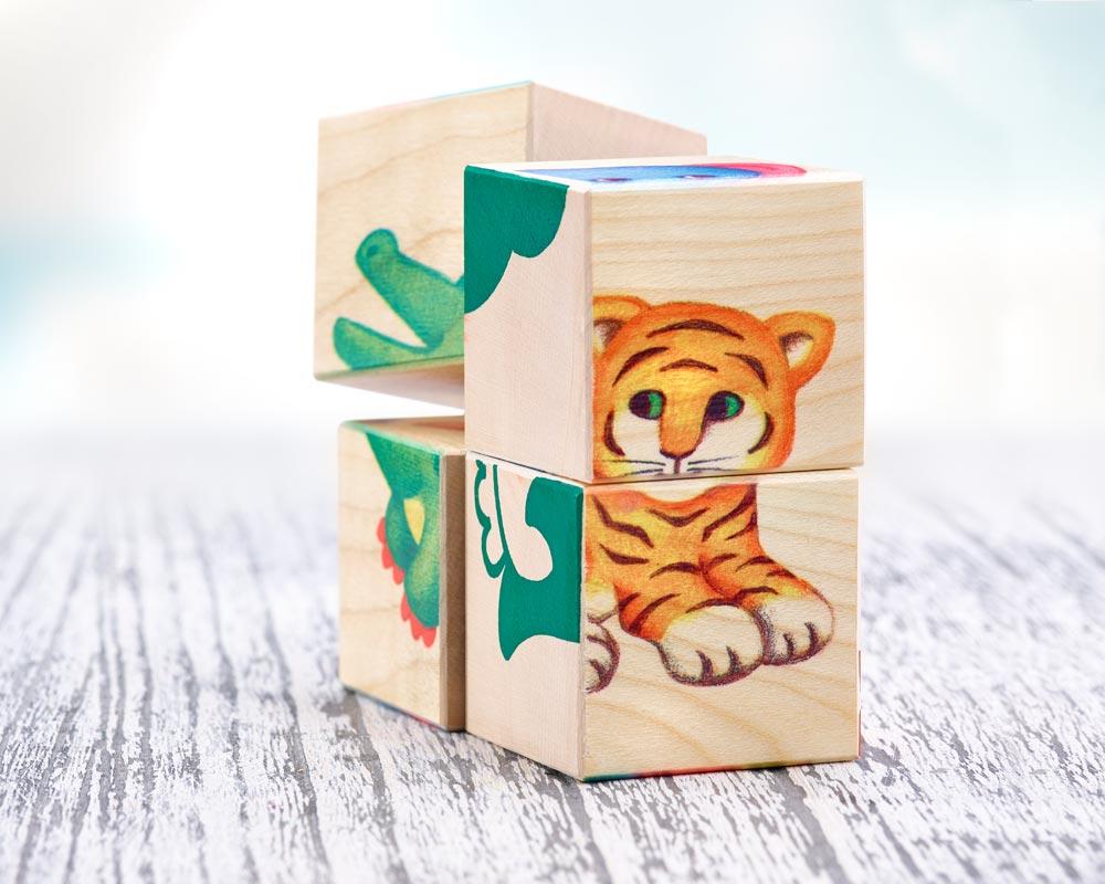 hout plaatjesboek blokken kinderdierentuin