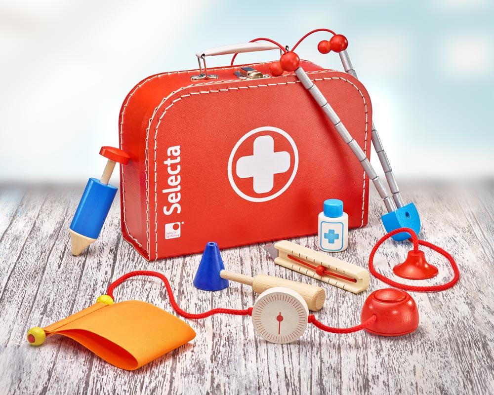 hout dokterskoffer kinderen dokterstas