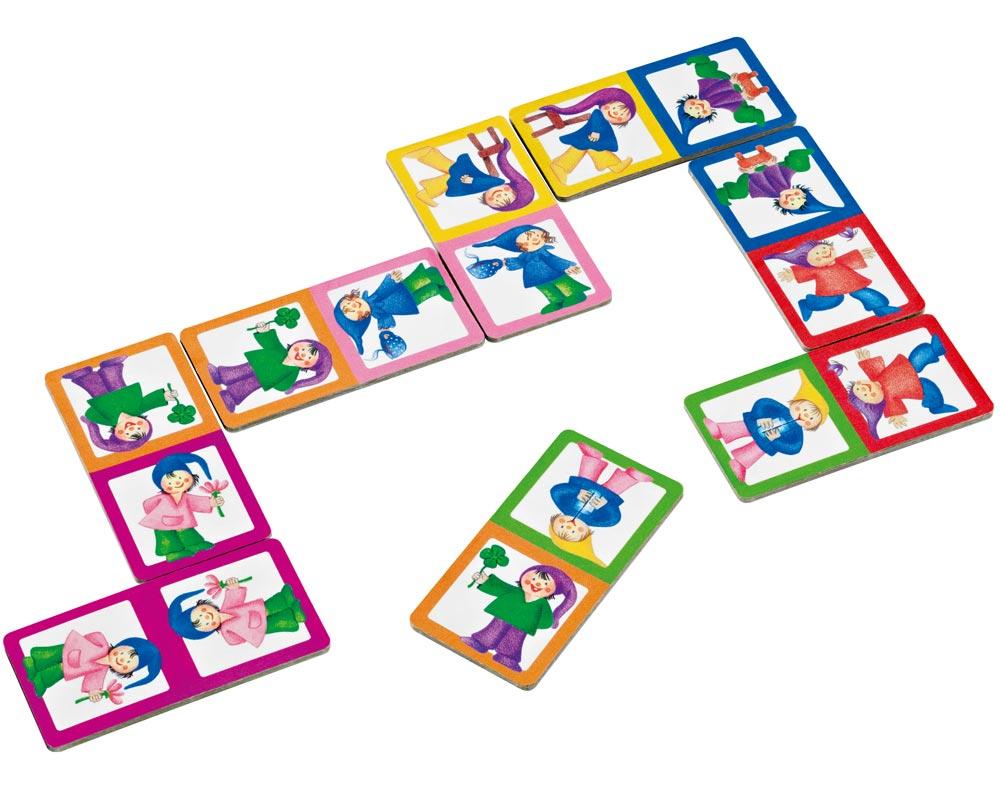 hout zoekspel dobbelen dwergen domino