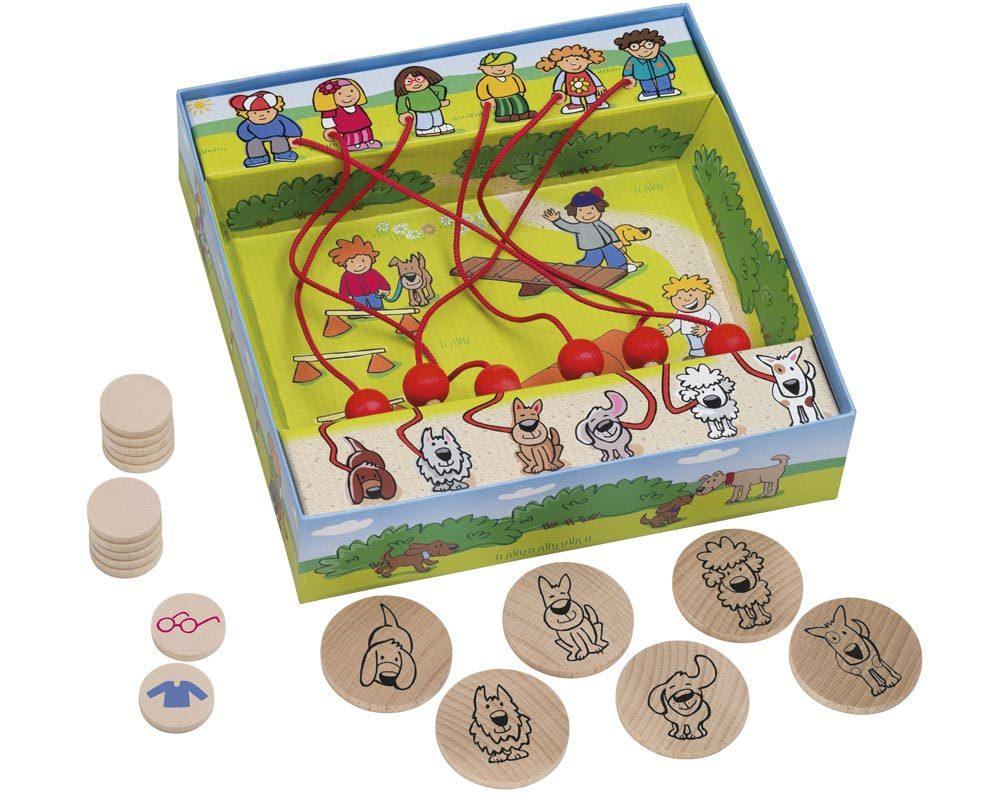 hout labyrint spel honden