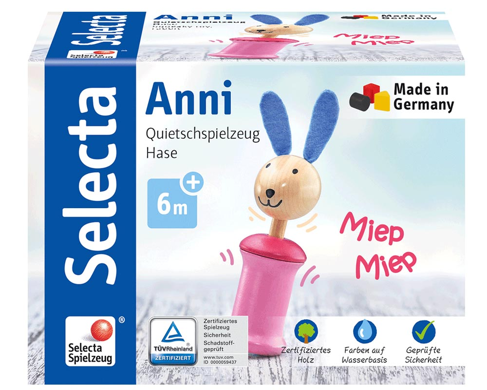 Anni haas, piepende rammelaar houten speelgoed Selecta