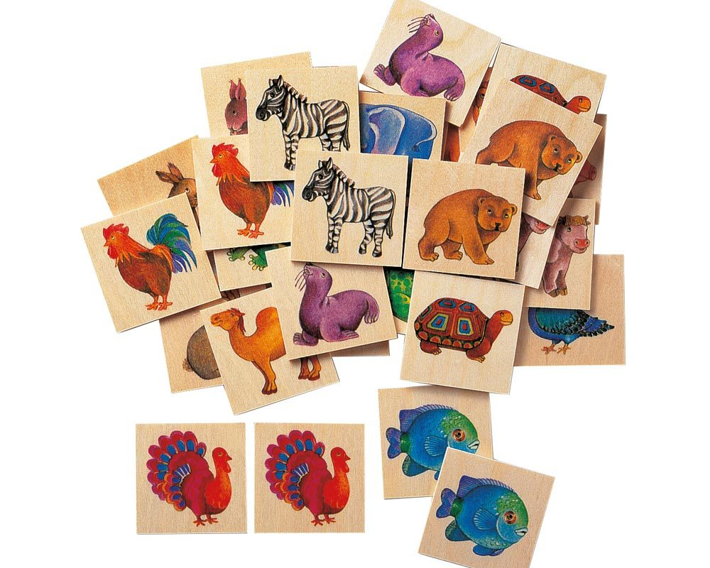 hout plaatjes memo spel dierentuindieren