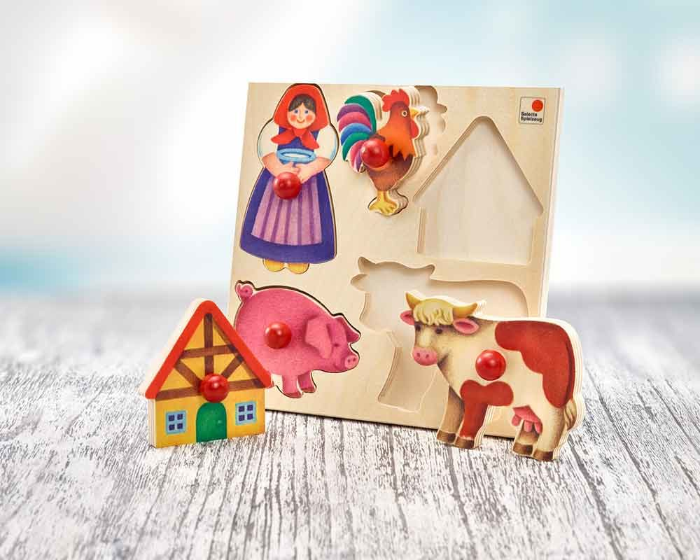 hout insteken puzzel baby boerderij