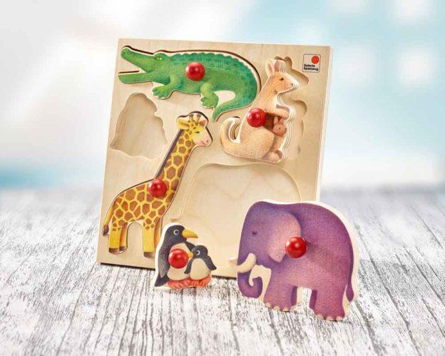hout insteken puzzel baby dierentuin